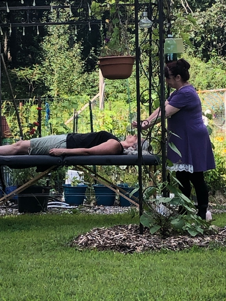 Image shows reiki practitioner directing energies to client within a garden setting.